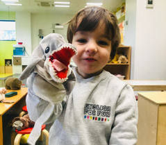 Rodrigo is proud to wear his uniform...and a shark!